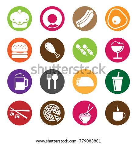 Food & Drink Icon Set Circle