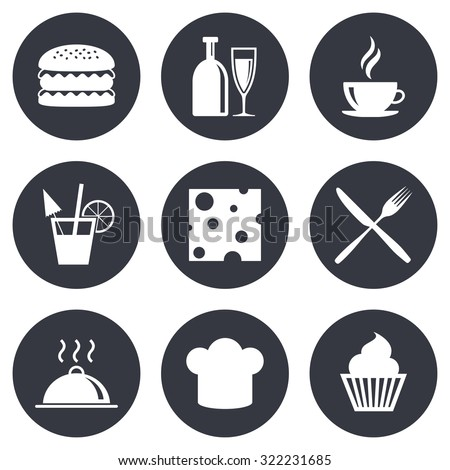 Food, drink icons. Coffee and hamburger signs. Cocktail, cheese and cupcake symbols. Gray flat circle buttons. Vector