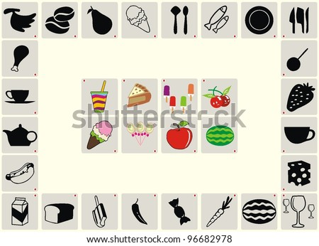 food & drink icons set, signs,