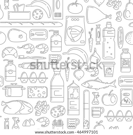 Food, drinks and household cleaning items Seamless Pattern in linear simple style. Vegetables, fruits, fish, meat, dairy food, grocery, canned goods, household cleaning products, sweets, drinks