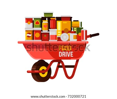 food drive with red wheelbarrow flat style vector illustration
