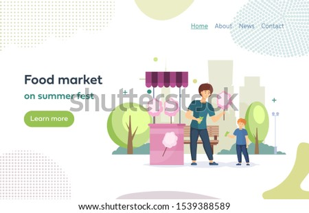 Food farmer market on summer fest, food street fair family festival. Cart of the street market with cotton candy. Seller sells kid cotton candy on a stick cartoon vector illustration