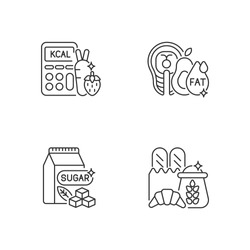 Food for weight loss linear icons set. Good fats. Count calorie for dietary. Sugar products. Customizable thin line contour symbols. Isolated vector outline illustrations. Editable stroke