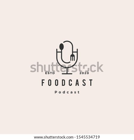 food fork spoon podcast logo hipster retro vintage icon for food cooking restaurant blog video vlog review channel