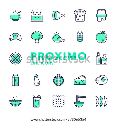 Food Futuristic Modern Material Design Line Vector Icons