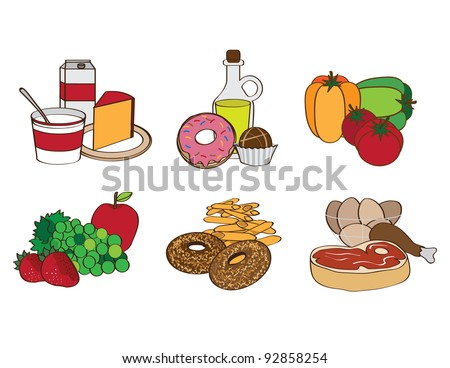 Food groups EPS 8 vector, grouped for easy editing. No open shapes or paths, transparencies or gradients.