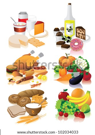 Food Groups EPS 8 vector, grouped for easy editing. No opens shapes or paths.