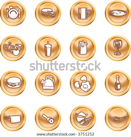 Food Icon Button Series Set A set of food and drink icons. No meshes used.