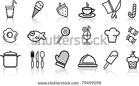 Food icon buttons glossy set