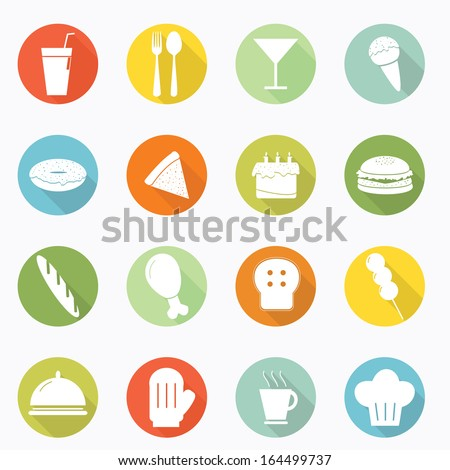 Food icon long shadow design