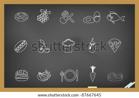 food icon on blackboard