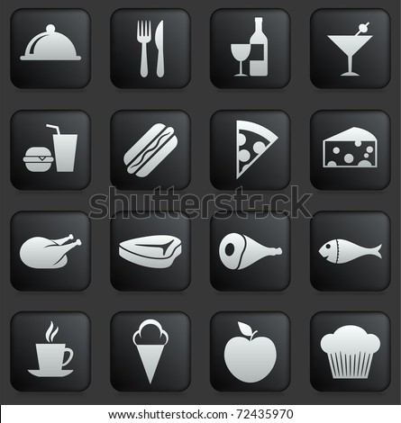 Food Icon on Square Black and White Button Collection Original Illustration