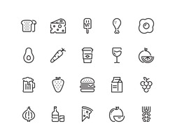 Food icon set, outline style