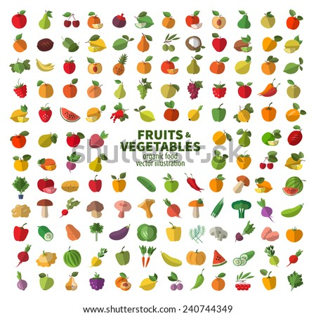Food icon set. The collection of fruits and vegetables