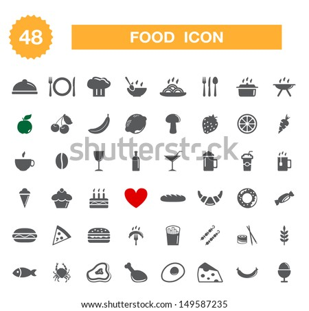 Food icon - set. Vector