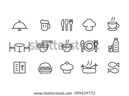 food icon set, vector - Shutterstock ID 499629772