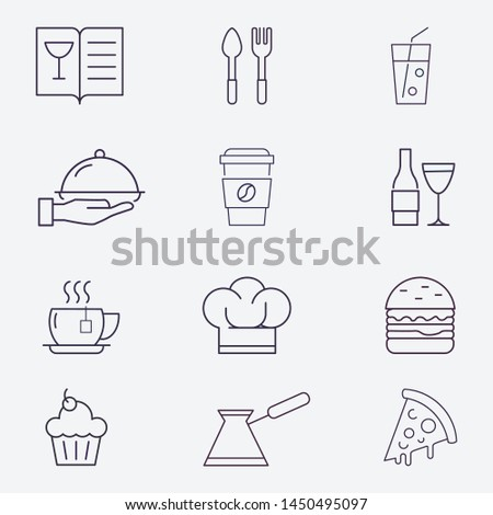 food icon set vector, cooking set icon