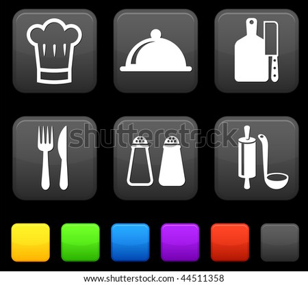 Food Icond on Square Internet Buttons Original vector Illustration