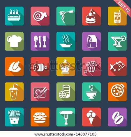 food icons  flat design