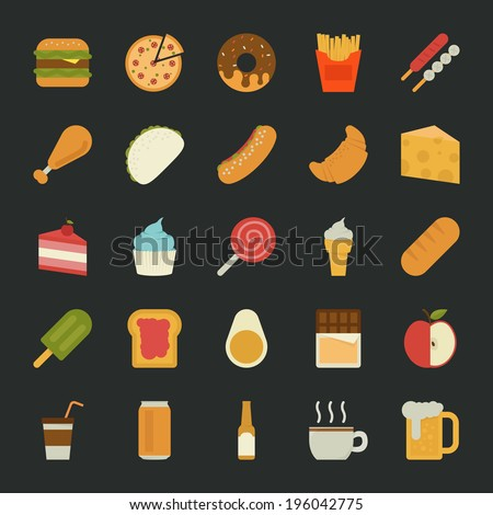 Food  icons , flat design , eps10 vector format