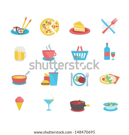 Food icons - flat style