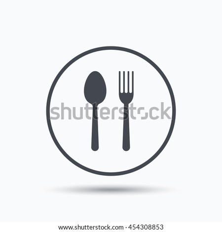 Food icons. Fork and spoon signs. Cutlery symbol. Circle button with flat web icon on white background. Vector