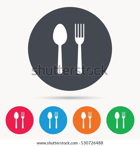 Food icons. Fork and spoon signs. Cutlery symbol. Colored circle buttons with flat web icon. Vector