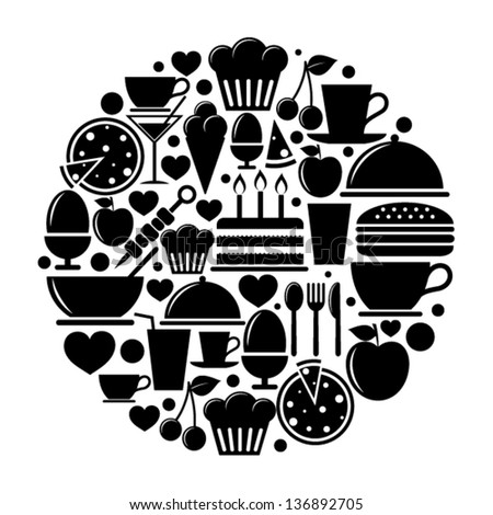 Food icons in circle