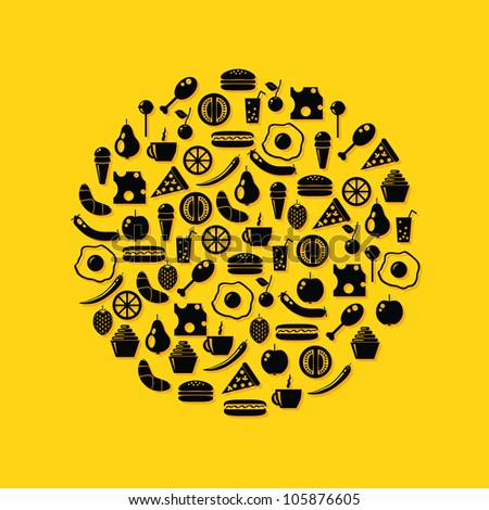 food icons in circle, yellow background