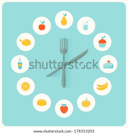 food icons infographic clock