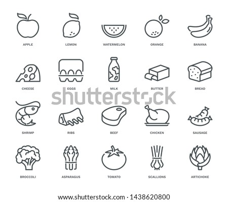 Food Icons,  Monoline concept The icons were created on a 48x48 pixel aligned, perfect grid providing a clean and crisp appearance. Adjustable stroke weight.
