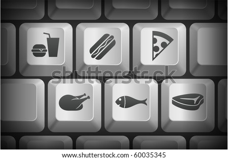 Food Icons on Computer Keyboard Buttons Original Illustration - stock ...