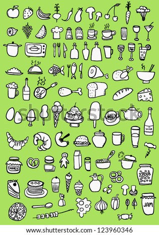 Food Icons on green background