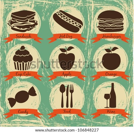 Food icons on vintage background with ribbons, vector illustration