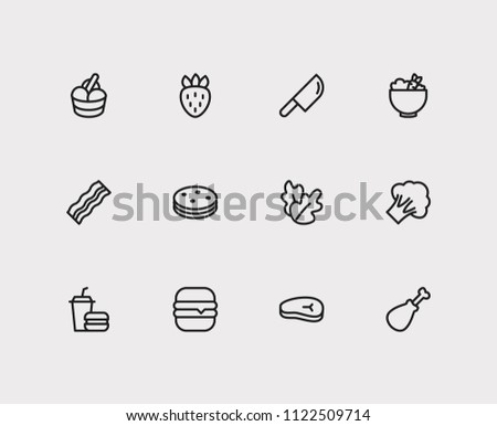 food icons set biscuit and