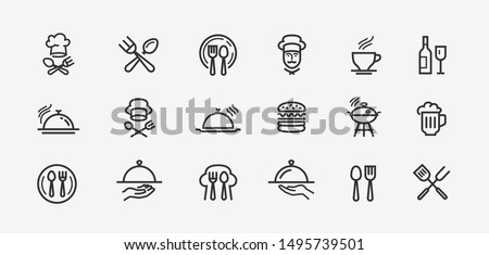 Food icons set. Collection vector black outline logo for mobile apps web or site design Photo stock ©