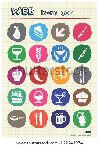 Food icons set drawn by chalk. Hand drawn vector elements pack isolated on paper