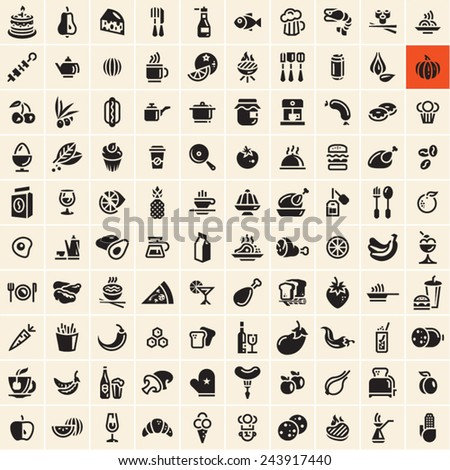 food icons set food and drink