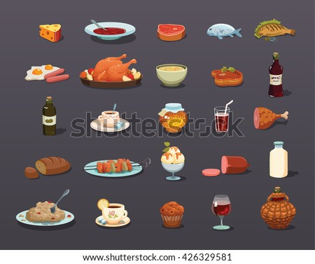 food Icons set, food Icon Vector - Shutterstock ID 426329581