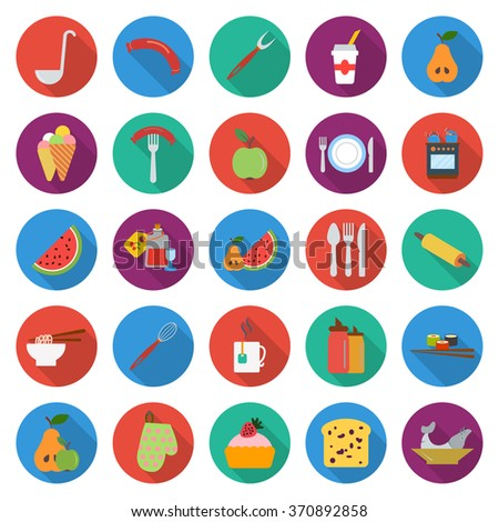 food icons set food icons flat