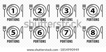 Food icons set for menu or product packaging. Plate with fork, knife and number indicating the number of servings. Vector illustration Stock photo ©