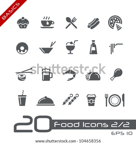 Food Icons - Set 2 of 2 // Basics - stock vector