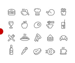 Food Icons - Set 1 of 2 // Red Point Series - Vector line icons for your digital or print projects.