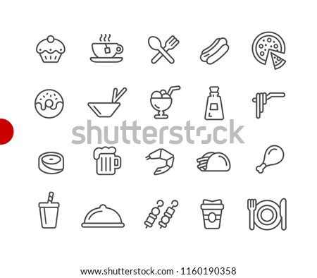 Food Icons - Set 2 of 2 // Red Point Series - Vector line icons for your digital or print projects.