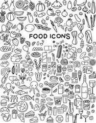 Food icons set. Vector on white background. Flat design, outline style.