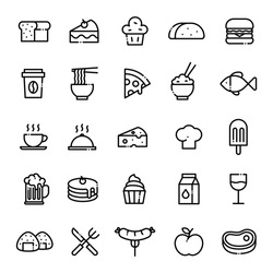 Food Icons Set With Editable Stroke. Vector line icons. Containing icons as bread, cake, muffin, taco, hamburger, coffee, noodles, pizza, rice, fish, cheese, cook hat, ice cream, beer, milk, sausage.