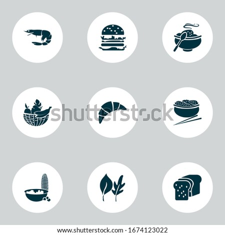 food icons set with fruit