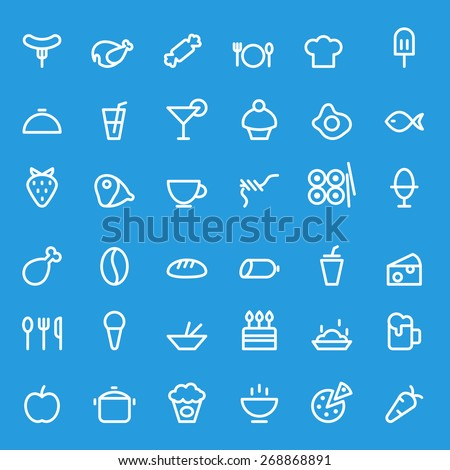 food icons  simple and thin