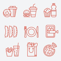 Food icons, thin line style, flat design