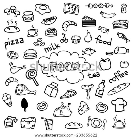 Food icons vector drawings drawn by hand.